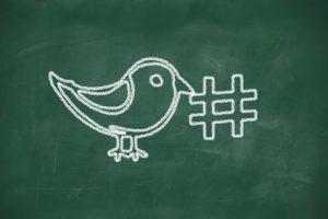 Bird holding a hashtag