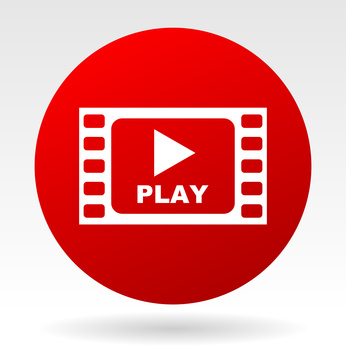 Play red web vector icon.